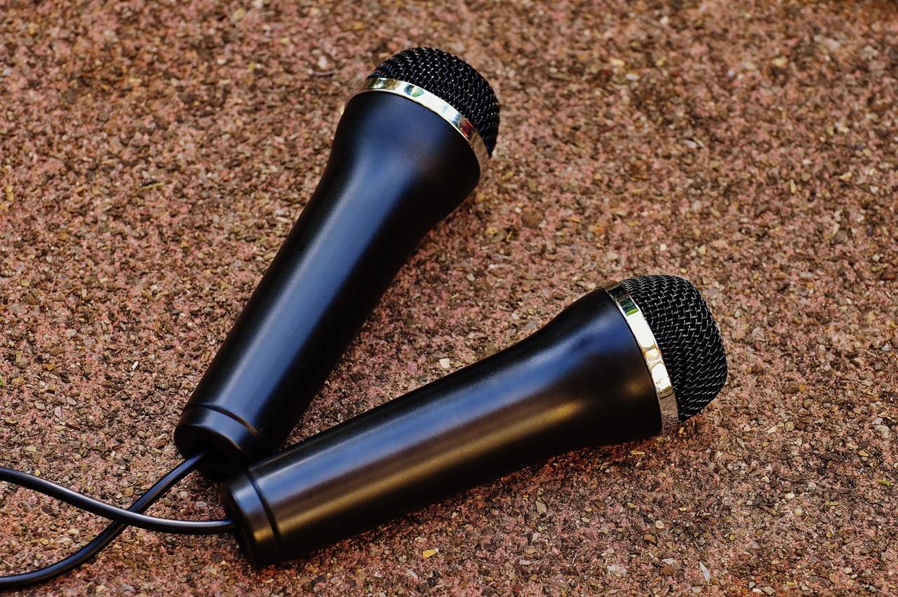two karaoke microphones