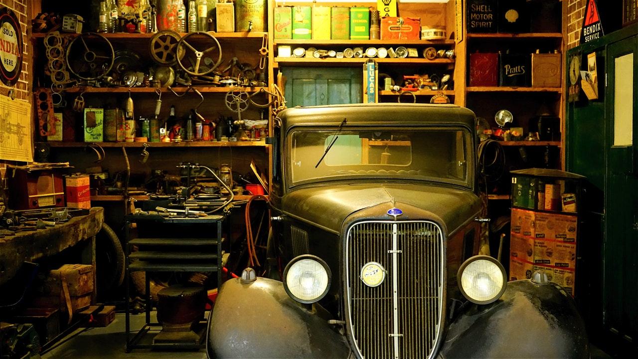 a vintage car in the garage
